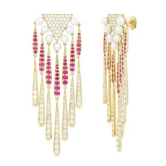 Yvonne Leon Yellow Gold with Diamonds Ruby and Pearls Coiffe Earrings