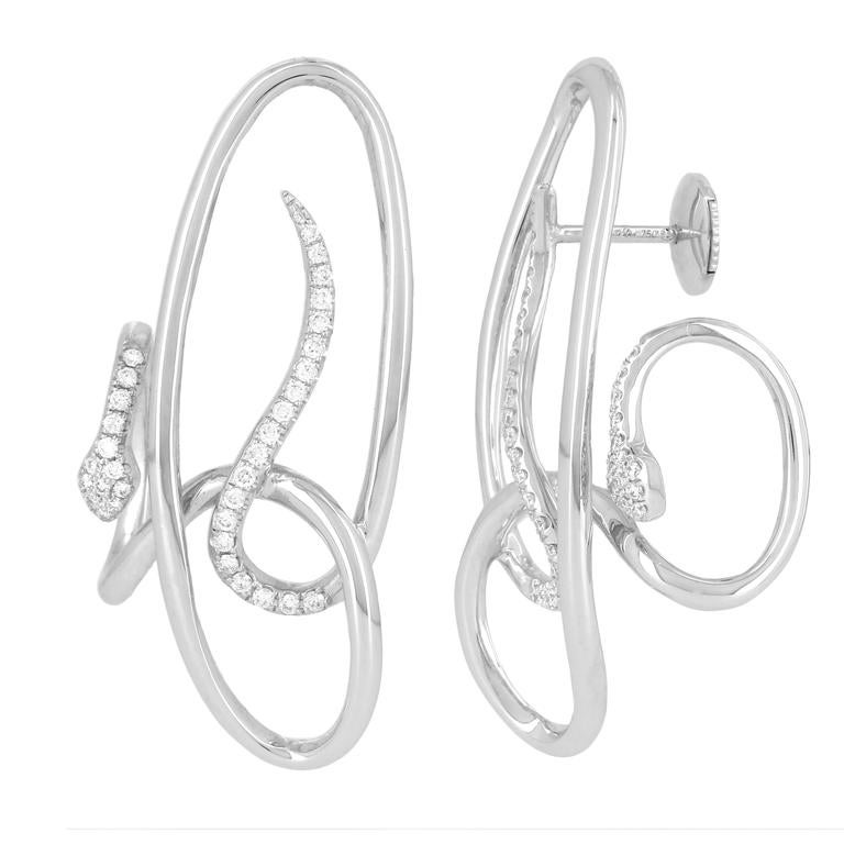 Yvonne Leon Contemporary Earring Snake in 18 Karat White Gold and Diamonds For Sale