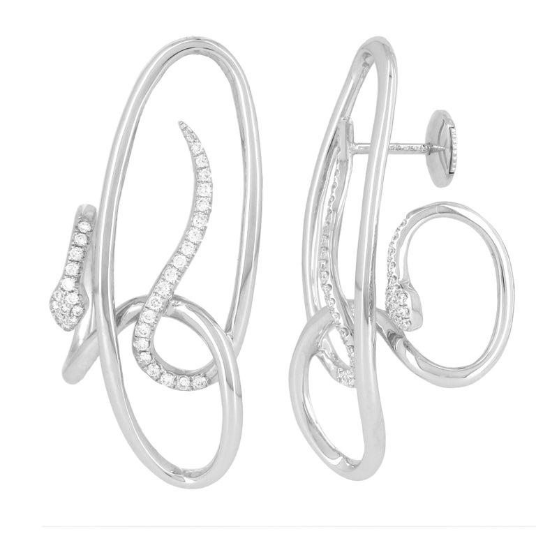 Yvonne Leon Contemporary Earring Snake in 18 Karat White Gold and Diamonds 1