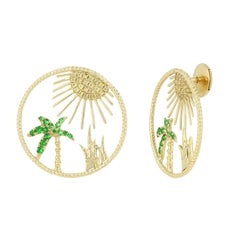 Yvonne Leon Contemporary Earring Sun in 18 Karat Yellow Gold with Tsavorites
