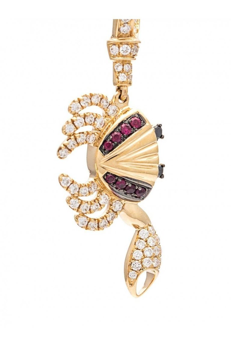Earring in 18K Yellow Gold 5,2 gr Diamonds 0,40 carats  Ruby 0,10 carats  Black Diamonds 0,04 carats  Sold by Unit Alpa System