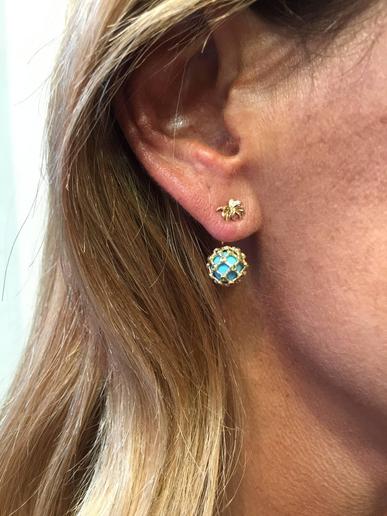 Stud and Ear-Jacket in 18K Yellow Gold 2,8 gr Tsavorites 0,02 carats Turquoise 2,8 carats  Sold by Unit Alpa System