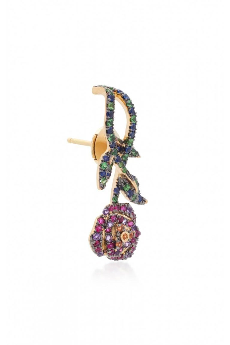 Earring in Yellow gold 18 carats 3,7 gr approx. Sapphire 0,50 carats approx. Tsavorites 0,20 carats approx. Amethyst 0,05 carats approx. Pink Sapphire 0,09 carats approx. Ruby 0,10 carats approx. Yellow Sapphire 0,04 carats approx. Alpa System Sold