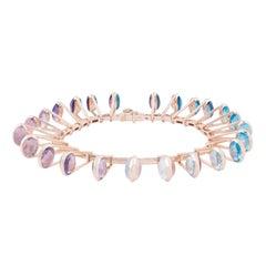Marie Mas Reversible Soft Bracelet, 18 Karat Rose Gold Amethyst Topaz Quartz