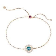 Marie Mas Large Swiveling Bracelet, Pink Gold Diamonds Amethyst Topaz