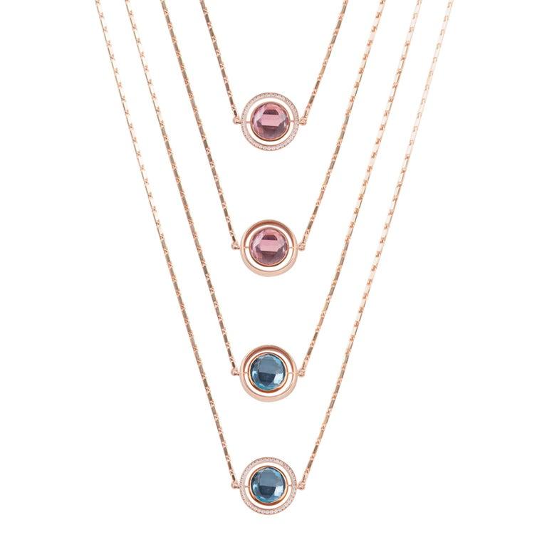 Marie Mas Reversible Large Swiveling Necklace, Pink Gold Diamonds Amethyst Topaz 4
