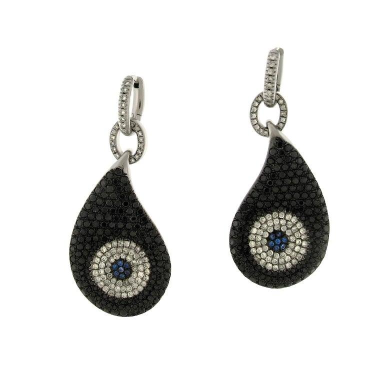 Gavello White Gold Black Diamond Tanzanite Pave Evil Eye Dangle Drop Earrings