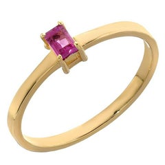 18 Karat Yellow Baguette Ruby Solitaire Stacking Band, 0.15 Carat