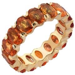 Boorma 18 Karat Yellow Gold 9.55 Carat Orange Sapphire Oval Eternity Band