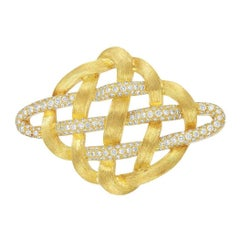 Henry Dunay Gold and Diamond Brooch 18 Karat 4.25 Carat