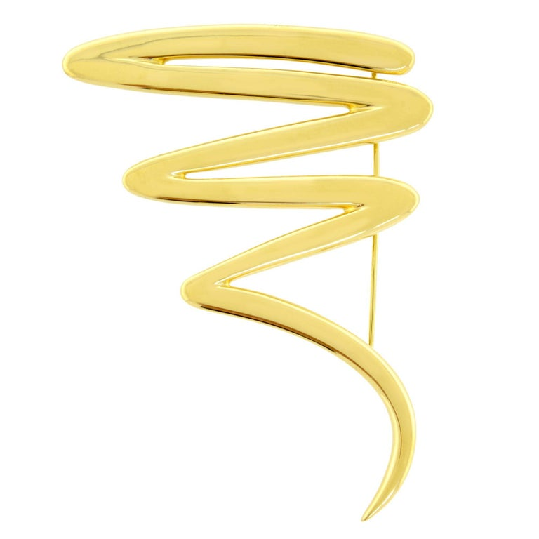 Tiffany & Co. Paloma Picasso 18 Karat Yellow Gold Large Scribble Brooch