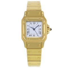 Cartier Santos White Square Dial 18 Karat Yellow Gold Automatic Ladies Watch