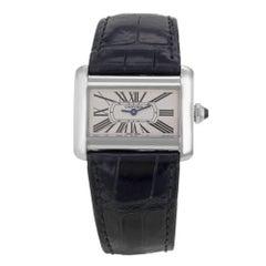 Cartier Tank Divan Mini W6300255 Rectangle Silver 31.5 Steel Quartz Ladies Watch