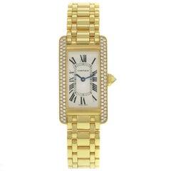 Cartier Tank Americaine WB7043JQ Diamond Yellow Gold Quartz Ladies Watch