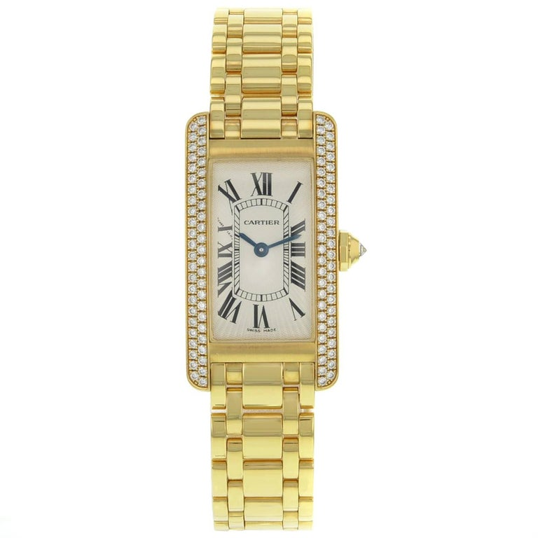 Cartier Tank Americaine WB7043JQ Diamond Yellow Gold Quartz Ladies Watch