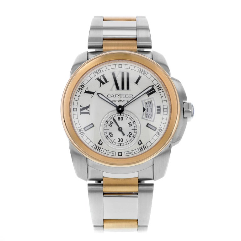 Cartier Calibre de W7100036 18 Karat Rose Gold and Steel Automatic Men's Watch