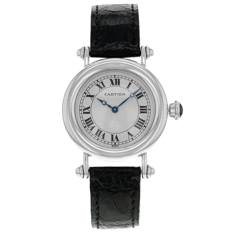 Cartier Diablo 1463.1 Platinum and Leather Hand-Wind Midsize Women's Watch