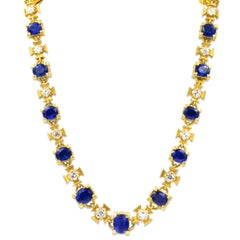Yellow Gold Natural No-Heat Sapphire and Diamond Necklace AGL