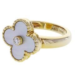 Van Cleef Arpels Vintage Alhambra Ring in 18 Karat Yellow Gold 0.06 Carat