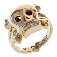 Dior 18 Karat Rose Gold Diamond Skull Ring 0.08 Carat
