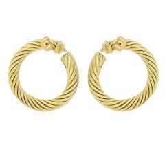 David Yurman 18 Karat Yellow Gold Classic Cable Women's Hoop Earrings