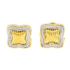 David Yurman Diamond 18 Karat Yellow Gold Ladies Earrings