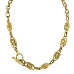 Yellow Gold Diamonds Vintage Necklace 18 Karat Yellow Gold 0.80 Carat