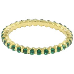 18 Karat Yellow Gold Emerald Garavelli Band Ring