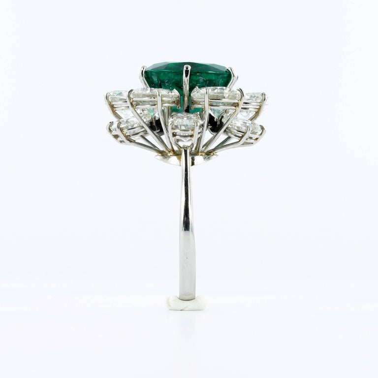 Certified Colombian Emerald Diamond Platinum Ring For Sale 1