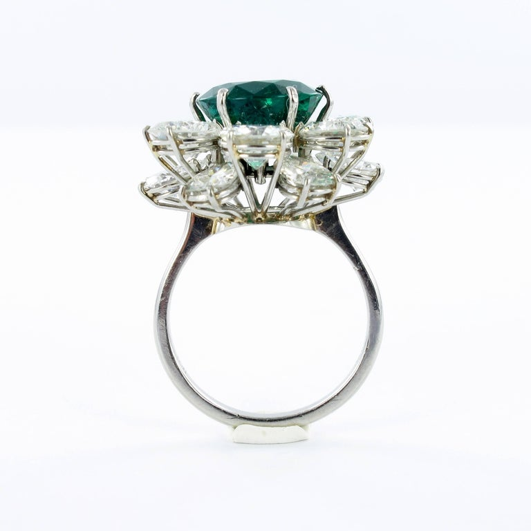 Certified Colombian Emerald Diamond Platinum Ring For Sale 2