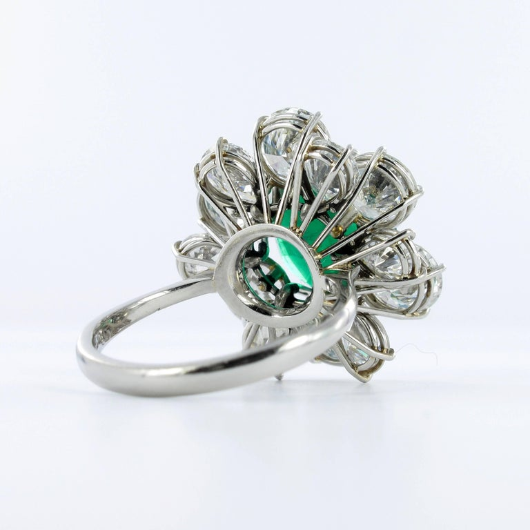 Certified Colombian Emerald Diamond Platinum Ring For Sale 3