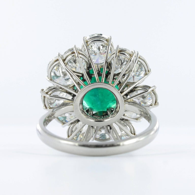 Certified Colombian Emerald Diamond Platinum Ring For Sale 4