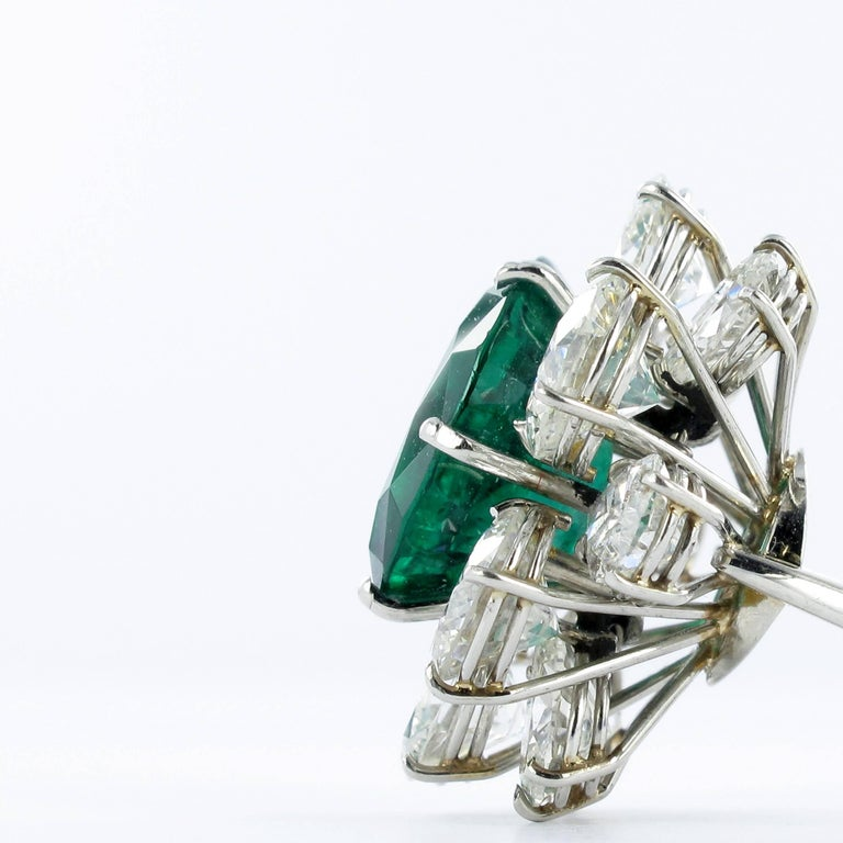 Certified Colombian Emerald Diamond Platinum Ring For Sale 6