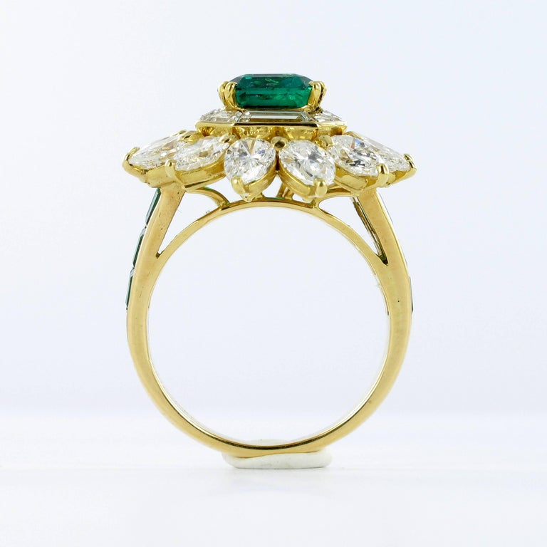 Mauboussin Certified Colombian Emerald Diamond Ring For Sale 3