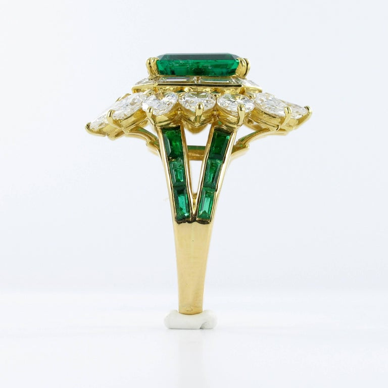 Mauboussin Certified Colombian Emerald Diamond Ring For Sale 4