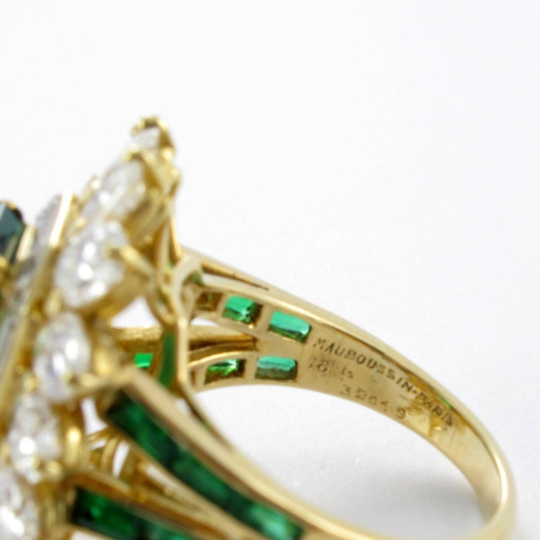 Mauboussin Certified Colombian Emerald Diamond Ring For Sale 5