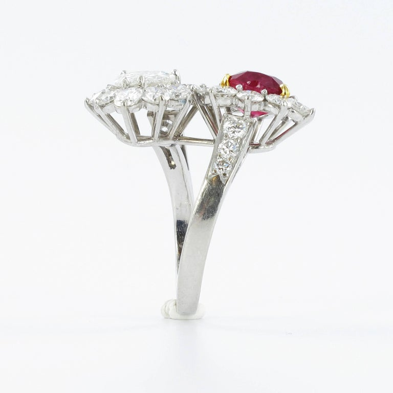 Women's or Men's Gübelin Report Burma Ruby Diamond Toi et Moi Platinum Ring For Sale