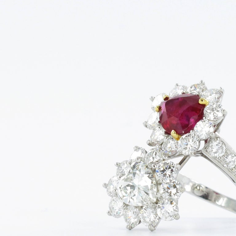Gübelin Report Burma Ruby Diamond Toi et Moi Platinum Ring For Sale 1