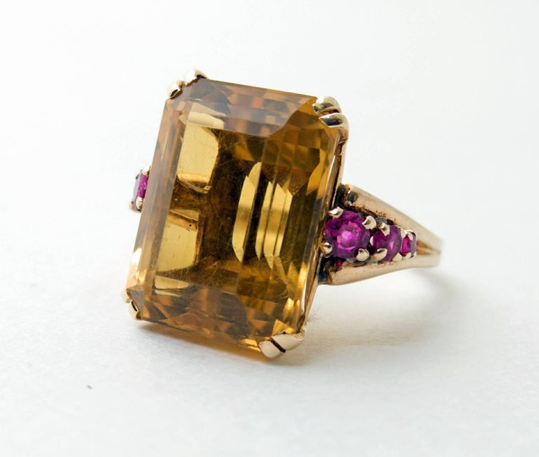 Retro Citrine and Ruby Gold Ring 2