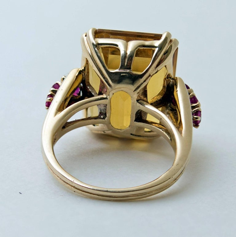 Retro Citrine and Ruby Gold Ring 5