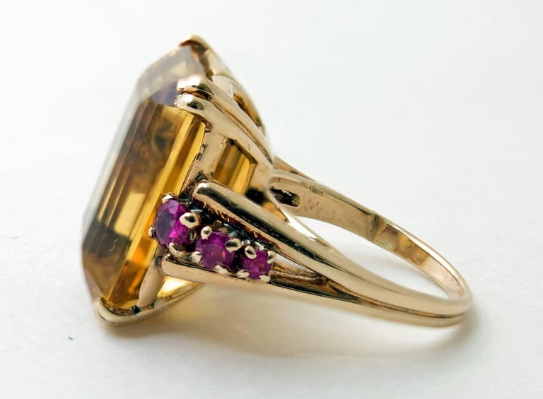 Retro Citrine and Ruby Gold Ring 3