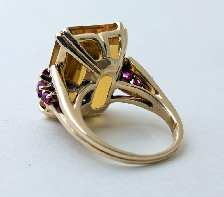 Retro Citrine and Ruby Gold Ring 4