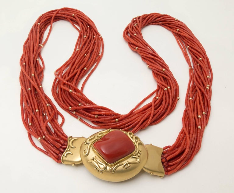 Modern 1970s Natural Red Coral  Gold Opera Length Necklace For Sale