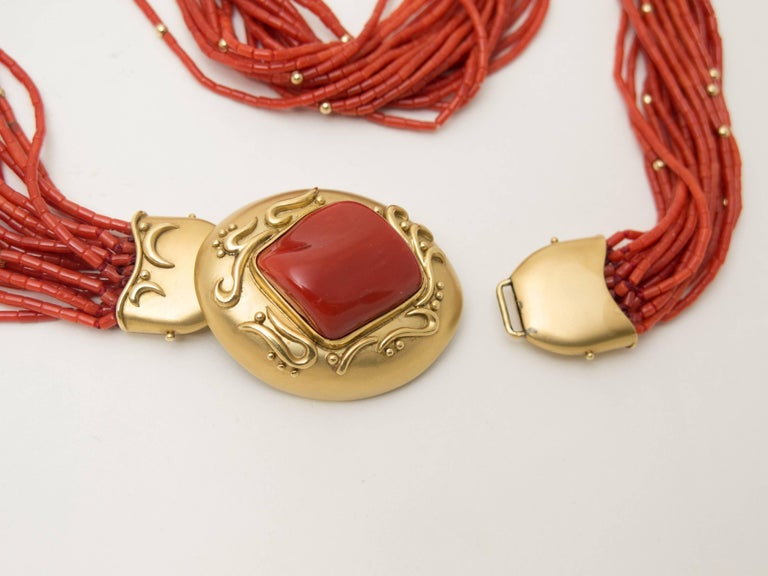 1970s Natural Red Coral  Gold Opera Length Necklace In Excellent Condition For Sale In Austin, TX