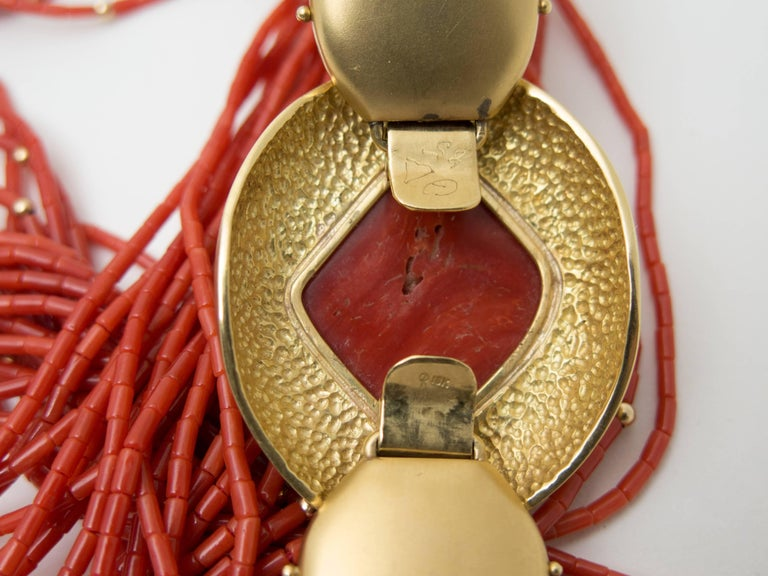 1970s Natural Red Coral  Gold Opera Length Necklace For Sale 1