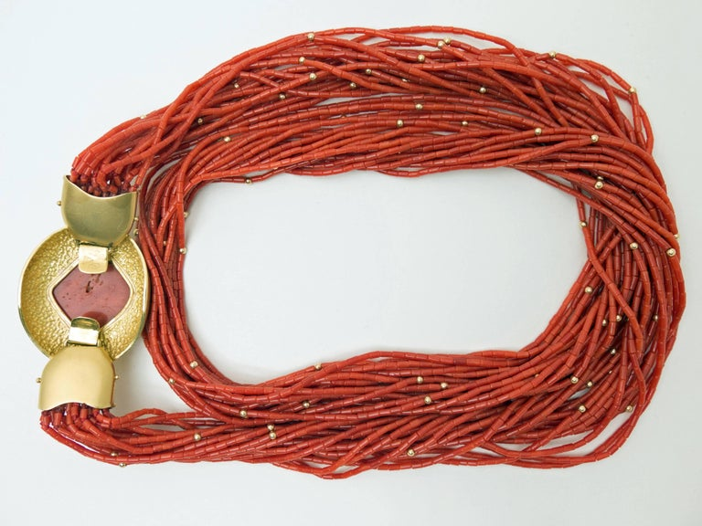 Women's 1970s Natural Red Coral  Gold Opera Length Necklace For Sale