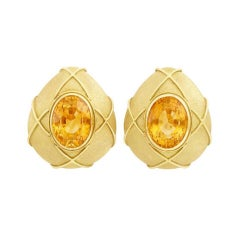 Pair of Large 1980s Gold and Citrine Clip Earrings
