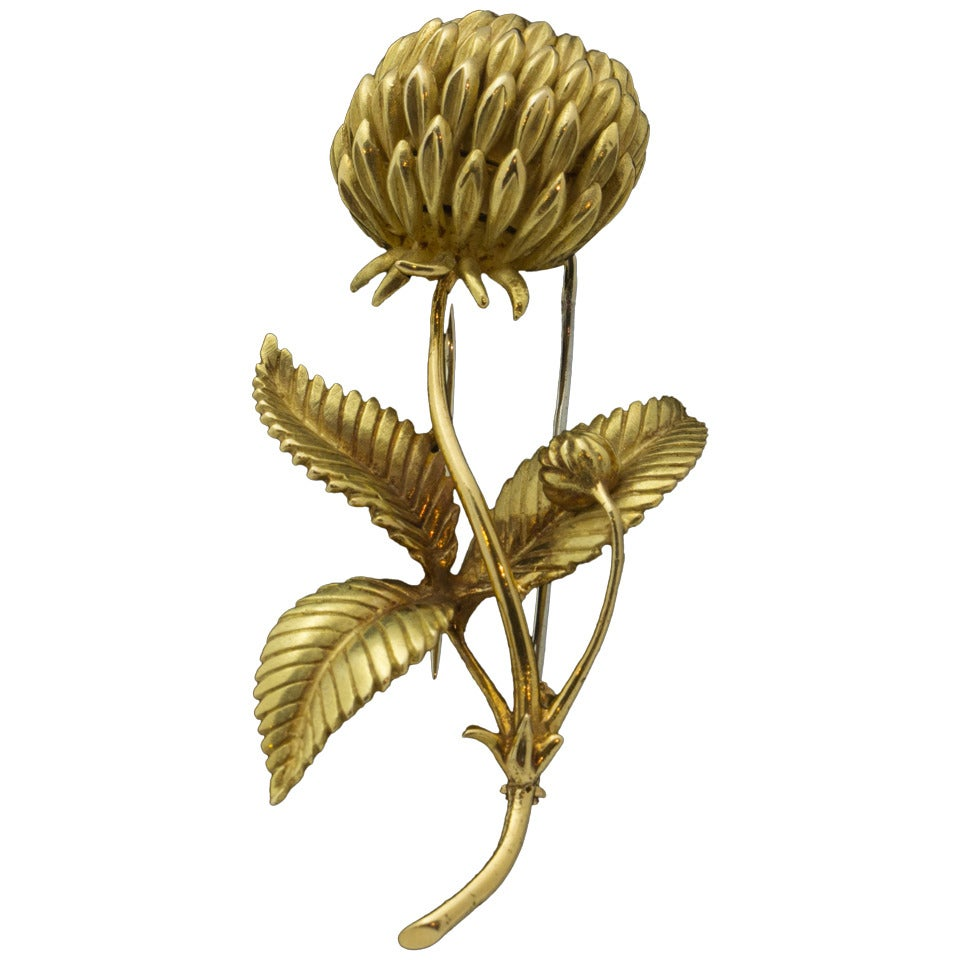An Hermes Gold Thistle Brooch