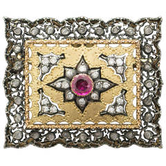 Mario Buccellati Ruby Diamond Silver Gold Lace Brooch