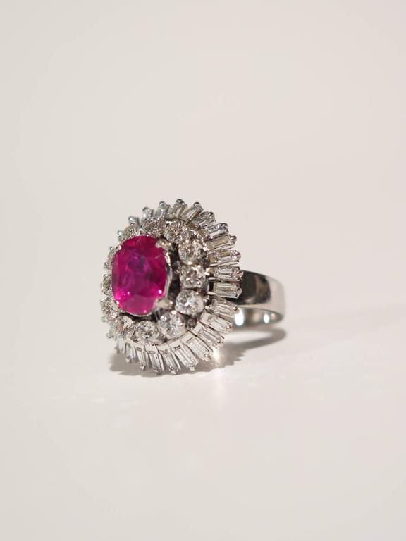 Modern AGL certified natural no heat Burmese ruby diamonds ring For Sale